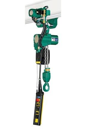 The JDN Profi 2 TI hoist shown in a motorised trolley (2-ton lift capacity).
