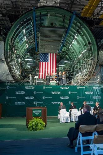 The keel-laying ceremony for the submarine Washington (SSN 787) took place Saturday in front of one of the ship's units. The submarine is roughly 70 percent complete and is on track to complete next summer. Photo by Dar Mook/HII