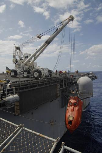 The lifeboat from the Maersk Alabama is hoisted aboard the USS Boxer to be processed for evidence after Phillips' rescue. (U.S. Navy photo by Jon Rasmussen)
