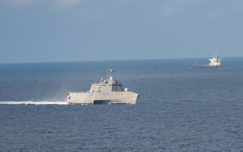 the littoral combat ship uss coronado conducts routine operations in the sulu sea us navy