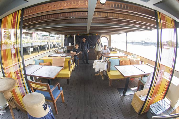 The lower deck of the Supatra Co. dinner boat includes the galley and seats up to 66 guests. (Photo: Haig-Brown/Cummins)