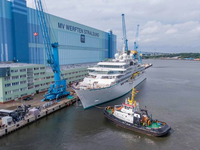 The luxury expedition yacht Crystal Endeavor now sails to Iceland for inaugural voyages. Photo courtesy MV Werften
