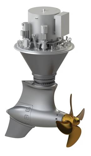 The main propulsion of the carrier consists of two electrically driven Schottel  EcoPellers type SRE 560. Image courtesy Schottel