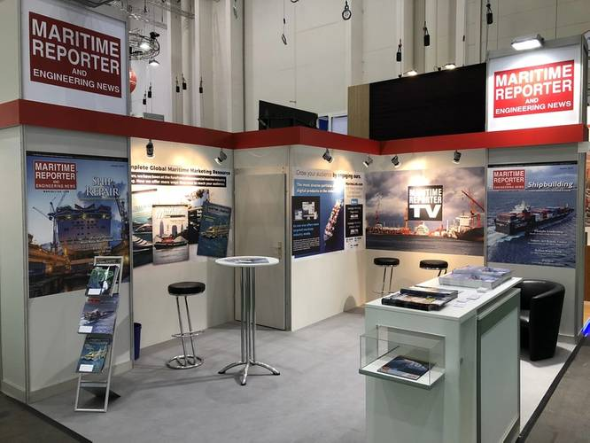 The Maritime Reporter TV booth at SMM 2018 saw visits from more than two dozen executives for interviews. (Photo: Maritime Reporter TV)