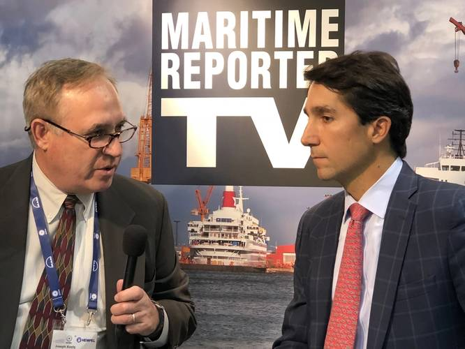 The Maritime Reporter TV booth at SMM 2018 saw visits from more than two dozen executives for interviews, including Mike Guggenheimer, president & CEO RSC Bio. (Photo: Maritime Reporter TV)