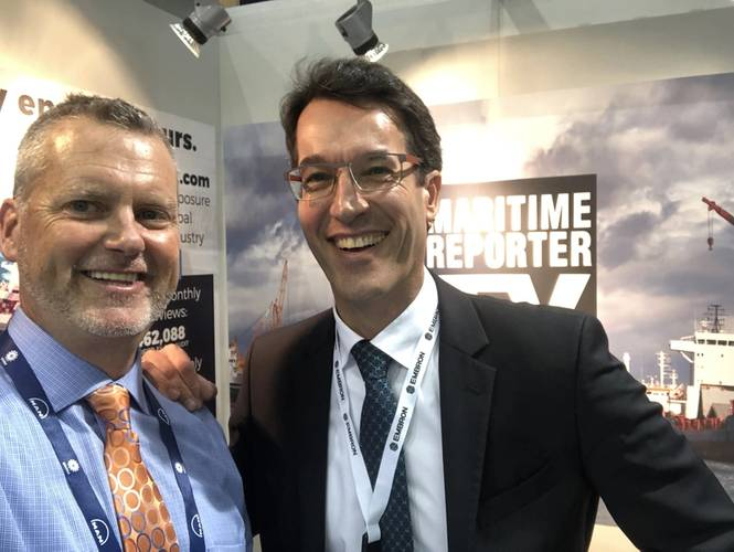 The Maritime Reporter TV booth at SMM 2018 saw visits from more than two dozen executives for interviews, including Götz Vogelmann, Hatteland Display. (Photo: Maritime Reporter TV)