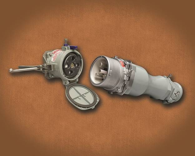The Meltric DR400 High Amperage plug and receptacle has exclusive performance features, including solid silver-nickel contacts that provide excellent corrosion resistance, butt-style contact technology that maintains optimal contact pressure and superior conductivity and a unique safety shutter that shields users from accidental access to live parts.
