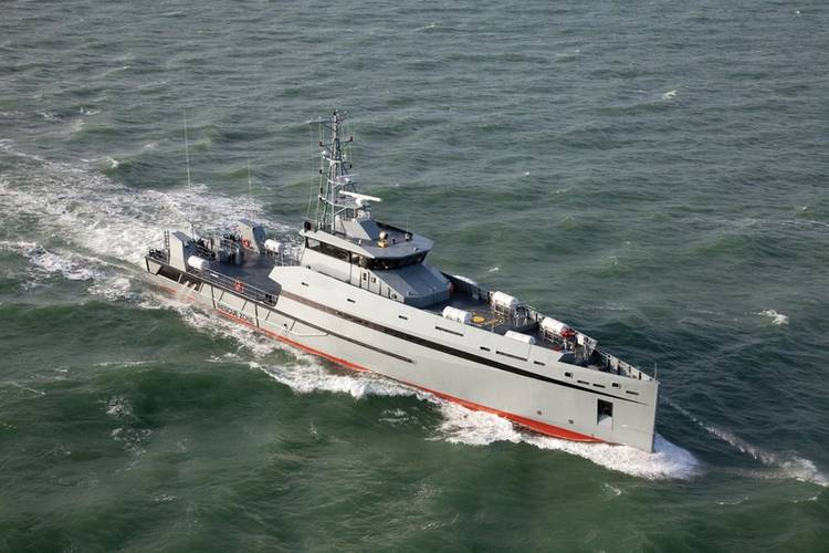 The Metal Shark 165 Defiant, which is an offshore patrol vessel based on Damen's Stan Patrol 5009. This is one of the Damen designs which will be built at Metal Shark's Franklin yard.