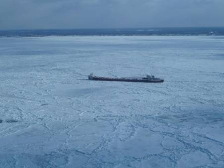 The motor vessel Arthur M. Anderson is beset in ice near Ashtabula, Ohio, Feb. 19, 2015. (Photo courtesy of Canadian Coast Guard)