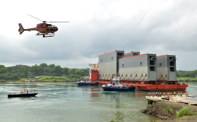 The new lock gates were transported across the Atlantic from Italy on special ships (Photo courtesy of the Panama Canal Authority)