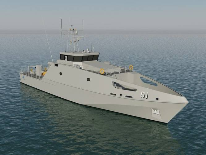 The Pacific Patrol Boat Replacement (PPBR) includes 19 x 40m steel vessels designed and constructed by Austal for delivery to 12 Pacific Island nations from late 2018. (Image: Austal)