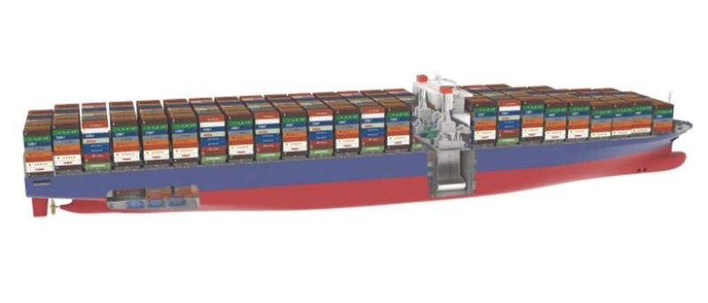 The PERFECt Piston Engine Room Free Efficient Containership has been jointly developed by GTT, CMA CGM and DNV GL. Its operation is based on combined gas and steam (COGAS) technology. (Graphic courtesy of DNV GL)