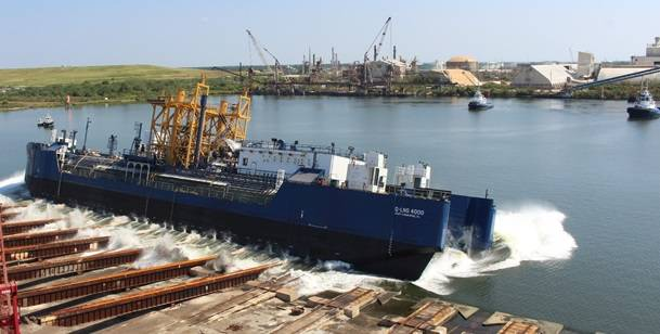 The Q-LNG 4000 bunker barge was launched by builder VT Halter Marine (Photo: VT Halter Marine)