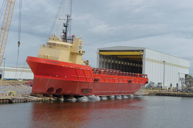 The recent launch of the 299' PSV Ted Smith from the Chouest Gulfport, MS shipyard, Gulf Ship