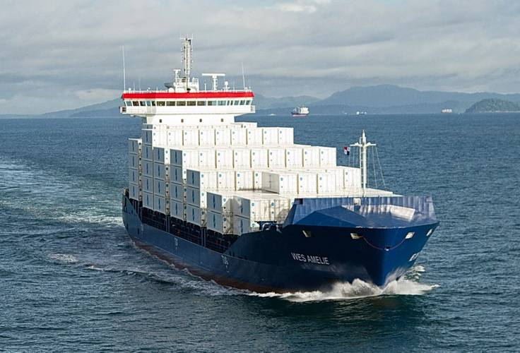 The retrofit of Wes Amelie (1,036 TEU) for the use with natural gas, will be the worldwide first conversion of a container vessel from heavy fuel to natural gas. (Image: Wessels GmbH)