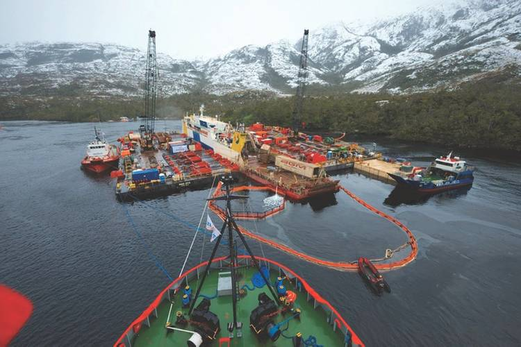The Ro/Ro Amadeo 1 wreck removal project off Southern Chile (Credit: Todd Schauer)