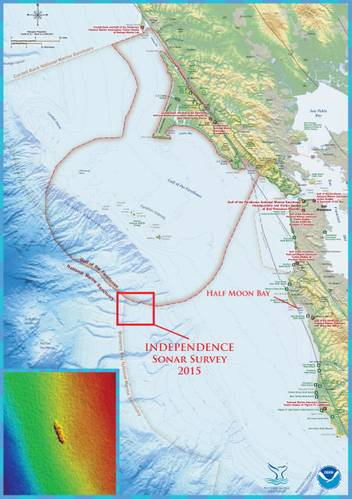 The shipwreck site is located in the northern region of Monterey Bay National Marine Sanctuary. Half Moon Bay, California was the port of operations for the Independence survey mission. The first multibeam sonar survey of the Independence site was conducted by the NOAA ship Okeanos Explorer in 2009. (Credit: NOAA's Office of Ocean Exploration and Research and NOAA's Office of National Marine Sanctuaries)