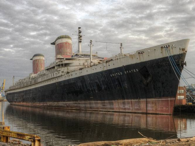The SS United States seen across from her Philadelphia pier. (Credit: SS United States Conservancy)