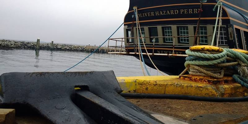The SSV Oliver Hazard Perry's 1,200-pound anchor sits dockside at Senesco Marine while the ship's Great Cabin undergoes interior and exterior work. (Photo Credit: OHPRI/Barby MacGowan)