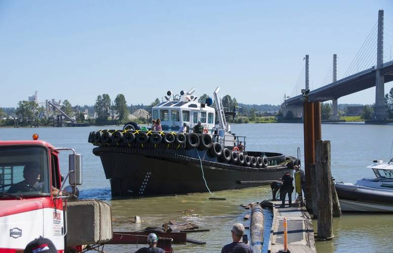 The tug floats off the launch cradle and finds her waterline (Photo courtesy of Haig-Brown/Cummins)