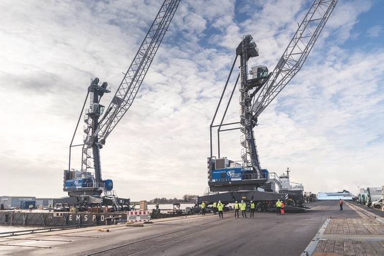 The two new Liebherr mobile harbor cranes LHM 420 will be mainly used for tandem lifts at the port of Emden, Germany. (Photo courtesy of Roll Group)
