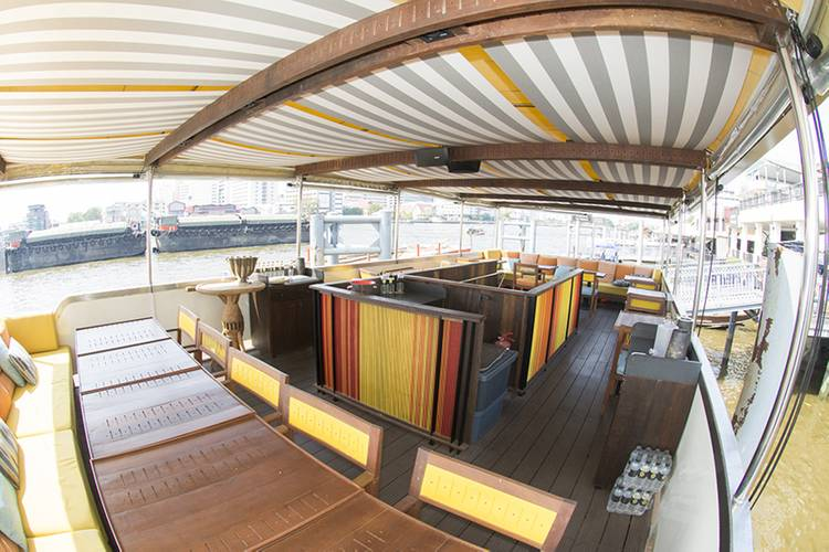 The upper deck of the Supatra Co. dinner boat seats up to 24 guests. (Photo: Haig-Brown/Cummins)