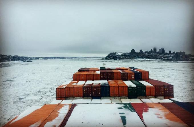 The Valencia Express (2,298 TEU) on its way to Quebec. (Photo: Pascal Rheaume)