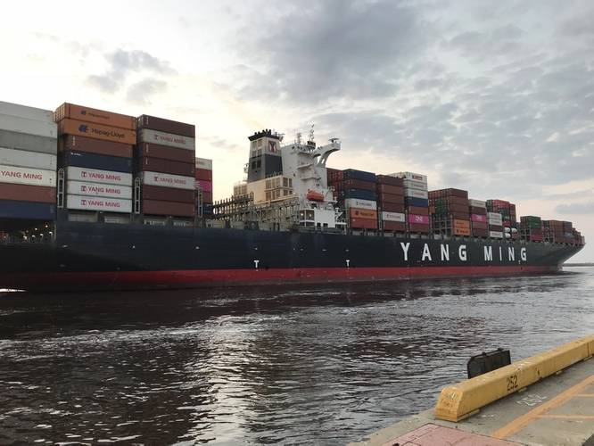 The YM Uniformity arrives at the Port of Wilmington (CREDIT NC Ports)