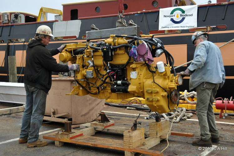 This week, the SSV Oliver Hazard Perry installed two Caterpillar C-12 main engines from Milton Cat, one of the Perry's Marine Trades Partners. Each is certified to run on a 20% biofuel-to-diesel blend that will be provided by another of the ship's Marine Trades Partners, Newport BioDiesel. (Photo Credit: OHPRI/Carol Hill)