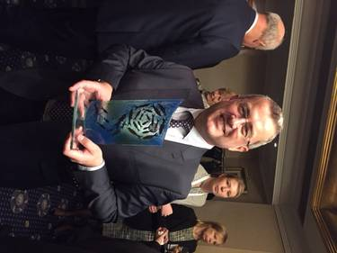 Thordon Bearings' George Morrison was presented with the Tanker Shipping & Trade Environmental Award for the COMPAC system (Photo: Thordon Bearings)