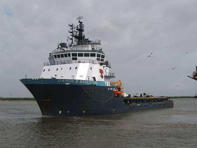 Tidewater's vessel Damon B. Bankston rescued 115 surviors from the Deepwater Horizon rig on April 20, 2010. (Courtesy of Captaint76, released to the public domain.)