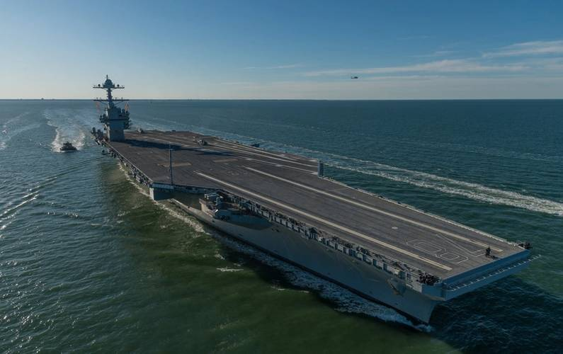 Huntington Ingalls Industries delivered the first-in-class aircraft carrier Gerald R. Ford (CVN 78) to the U.S. Navy on May 31, 2017. (Photo by Matt Hildreth/Huntington Ingalls Industries)