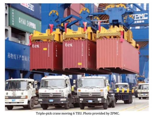 Triple-pick crane moving 6 TEU.
