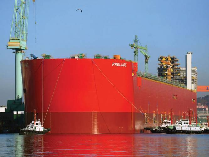 Tugs assisting launch of Shell's Prelude FLNG plant on Nov. 30, 2013. (Photo: Courtesy Royal Dutch Shell)