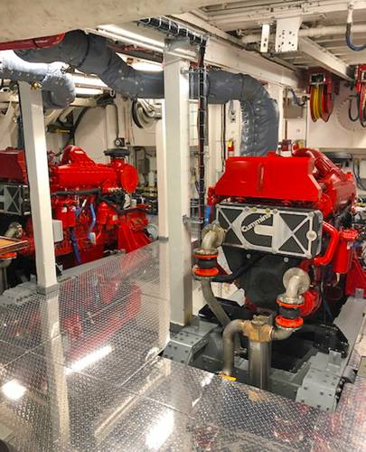Twin Cummins QSK19s in the M/V LISERON. Courtesy of The Boat Company