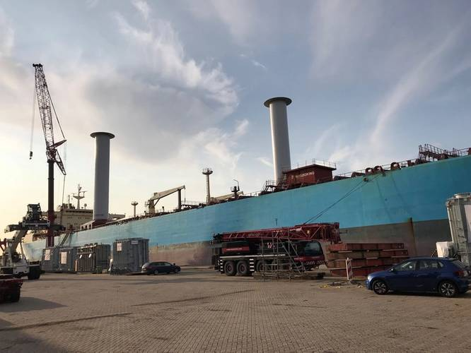 Two 30- x 5-meter Norsepower Rotor Sails installed on board the Maersk Pelican