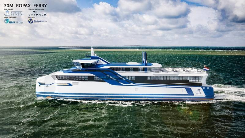 Two new aluminum catamarans are to operate ferry services by Doeksen for as many as 66 vehicles and 599 passengers from 2018 between the Dutch mainland and the islands of Terschelling and Vlieland. (Photo: Rolls-Royce)