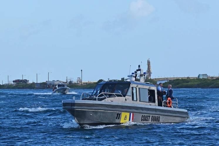 Two new Metal Shark 38 Defiant patrol boats cruising near the Dutch Caribbean Coast Guard station in the Savaneta district of Aruba following a commissioning ceremony on January 23rd, 2019.