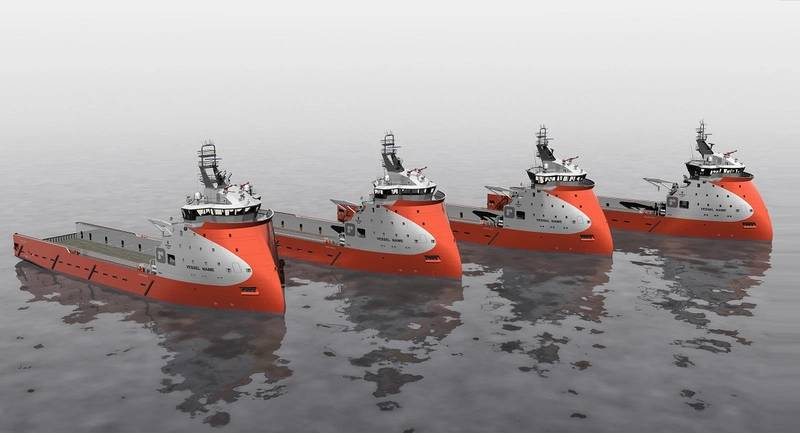 Ulstein has entered into a contract with Wuchang Shipbuilding Industry on design and equipment deliveries for four PSVs of the PX121 design for Otto Offshore. The contract includes an option for four more vessels. (Image: Ulstein)