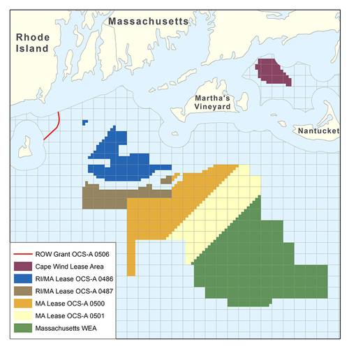 Map of the unsolicited offshore Massachusetts bids. (Source: BOEM)