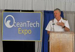 U.S. Navy CNO Admiral Gary Roughead addressing delegates during a reception in his honor at the OceanTech Expo, May 17, 2011, Newport, Rhode Island. (Photo: U.S. Navy)