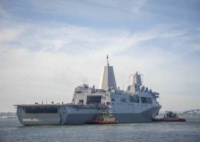 USS Anchorage departs San Diego to conduct tests with NASA off the coast of Southern California as part of an effort to practice the Orion spacecraft recovery in an open ocean environment (U.S. Navy photo by Jesse Monford)