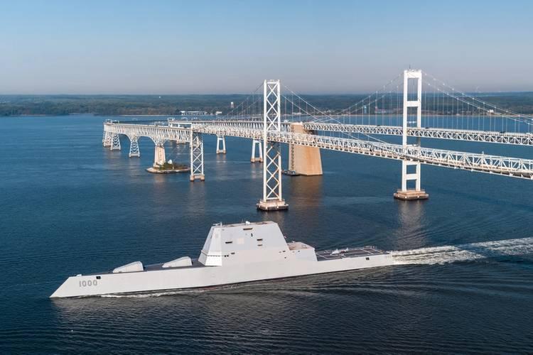 USS Zumwalt (DDG 1000) passes under the Gov. William Preston Lane Memorial Bridge, also known as the Chesapeake Bay Bridge, as the ship travels to its new home port of San Diego (U.S. Navy photo by Liz Wolter)