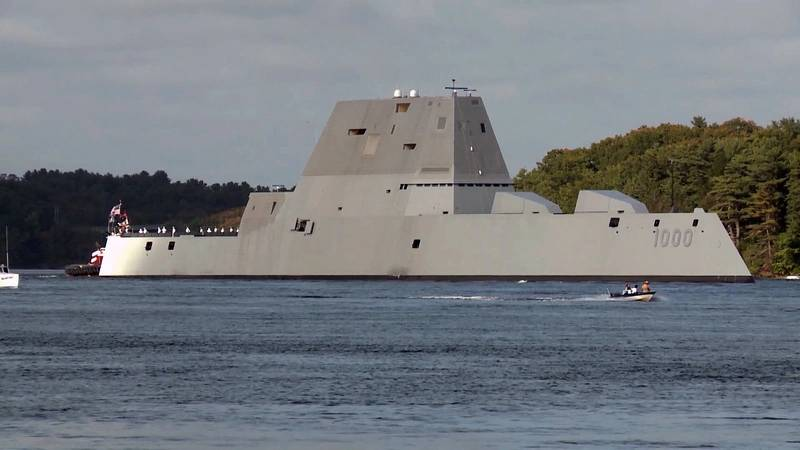 USS Zumwalt departing Bath Iron Works. Crewed by 147 Sailors, Zumwalt is the lead ship of a class of next-generation multi-mission destroyers designed to strengthen naval power. (U.S. Navy photo)