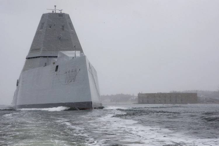 USS Zumwalt departs the Bath Iron Works shipyard for its second at-sea period to conduct builder's trials, during which many of the ship's key systems and technologies were demonstrated. (U.S. Navy photo)