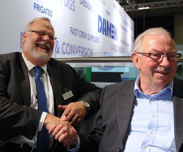 van Dongen, MD Maaskant, (left) and Henk Groen, owner Rederij Groen