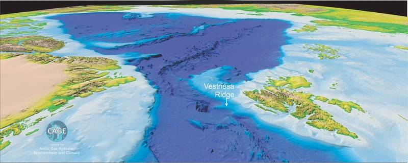 Vestnesa Ridge in the Fram Strait in the Arctic Ocean is one of the key sites for CAGE research. (Illustration: Torger Grytå/CAGE)