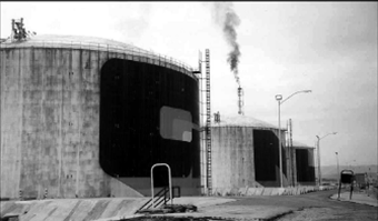 View of the three tanks in 1990