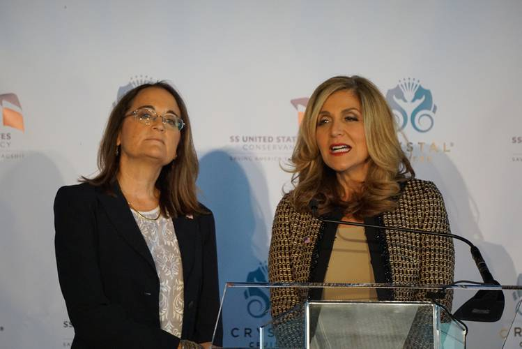 """We are ready to save history, full speed ahead"" said Susan Gibbs (left). Gibbs and Edie Rodriguez, President and CEO of Crystal Cruises, announced plans to save the SS United States at a press conference in New York.  (Photo: Eric Haun)"