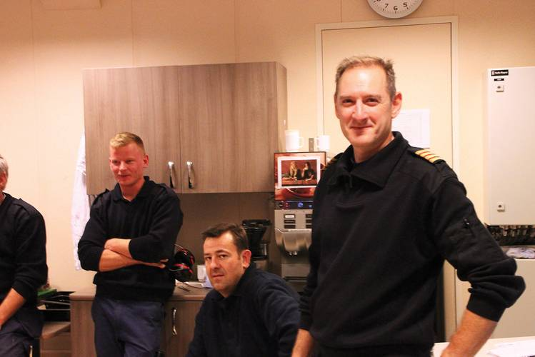 """We are very pleased with the  uncomplicated handling of  this advanced propulsion.""   Chief Engineer John Tolle and his crew in the  engine control room of the RoPax ferry Stavangerfjord."